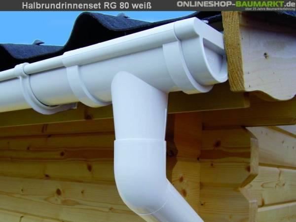 Dachrinnen Set RG 80 weiß 4 x 350 cm Walmdach