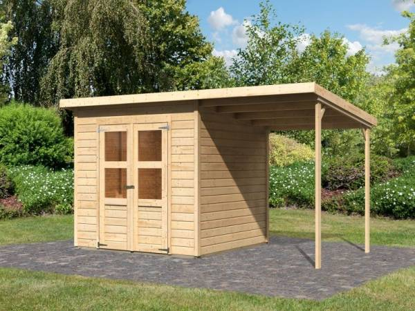 Karibu Gerätehaus Merseburg 4 SET mit Anbaudach